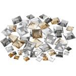 Rhinsten, 6+9+12 mm, sølv harmoni, firkantede, 360 ass.