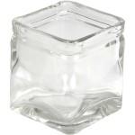 Firkantet lysglas, 5,5x5,5  cm, 12 stk.