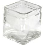 Firkantet lysglas, 7,5x7,5 cm, 12 stk.