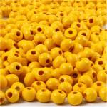 Træperler, 5 mm, gul, 6 g