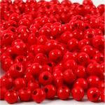 Træperler, 5 mm, rød, 6 g