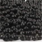 Træperler, 5 mm, sort, 6 g