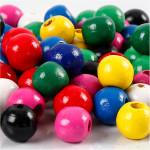 Træperlemix, 10 mm, ass. farver, 230 g
