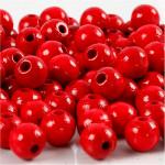 Træperler, 8 mm, rød, 15 g