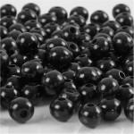 Træperler, 8 mm, sort, 15 g