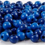 Træperler, 8 mm, blå, 15 g