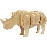 3D Puzzle, 16x4x8 cm, krydsfiner, næsehorn, 1 stk.