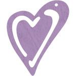 Skævt hjerte, 55x45 mm, lilla, 10 stk.