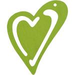 Skævt hjerte, 55x45 mm, lime grøn, 10 stk.