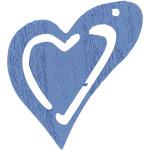 Skævt hjerte, 25x22 mm, lys blå, 20 stk.