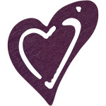 Skævt hjerte, 25x22 mm, mørk lilla, 20 stk.