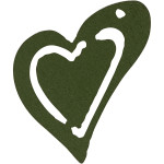Skævt hjerte, 25x22 mm, mørk grøn, 20 stk.