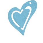 Skævt hjerte, 25x22 mm, lys turkis, 20 stk.