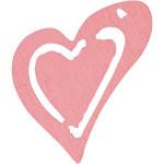 Skævt hjerte, 25x22 mm, rosa, 20 stk.