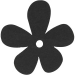 Blomst, 57x51 mm, sort, 10 stk.
