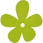 Blomst, 57x51 mm, lime grøn, 10 stk.