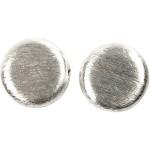 Flad perle, 20x20x3 mm, børstet sølv, Sterling Silver Plated, 3 stk.