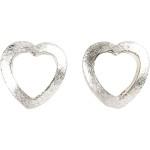 Hjerte, 17x15x2 mm, børstet sølv, Sterling Silver Plated, 28 stk.