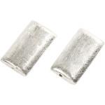 Aflang Firkant, 25x15x5 mm, børstet sølv, Sterling Silver Plated, 2 stk.