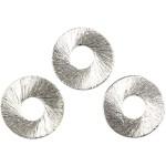 Flad Ring, 15 mm, børstet sølv, Sterling Silver Plated, 8 stk.