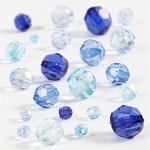 Harmoni facetperlemix, 4-12 mm, blå harmoni, 45 g