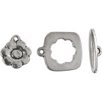 Charmlås, 15-20 mm, antik sølv, AS, 1 sæt