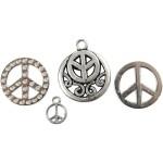Charms med øje,  11-25 mm, antik sølv, peace, 8 ass.