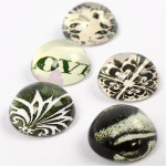 3D Cabochons, 14 mm, grøn harmoni, 5 ass.