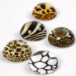 3D Cabochons, 14 mm, brun harmoni, 5 ass.