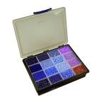 Harmoni rocai perler, 0,9-1,2 mm, blå/lilla harmoni, ekskl. sortimentskasse, 16x100 g