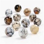 Agat perler, 8 mm, lys grå, 24 stk.