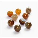 Agat perler, 12 mm, brun, blank, 16 stk.