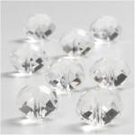 Krystalperler, 12x14 mm, blank transparent, flad rund facon, 20 stk.
