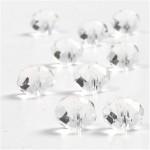 Krystalperler, 10x12 mm, blank transparent, flad rund facon, 30 stk.
