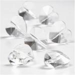 Krystalperler, 14 mm, blank transparent, hjerteformet facon, 30 stk.
