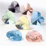 Krystalperler, 14 mm, ass. farver, hjerteformet facon, 30 ass.