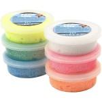 Foam Clay - sortiment, ass. farver, glitter, 6x14 g