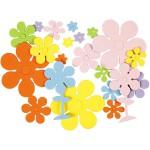 Mosgummi, 10-60 mm, ass. farver, blomster, 100 ass.