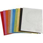 Mosgummi, 21x30 cm, ass. farver, glitter, 10 ass. ark