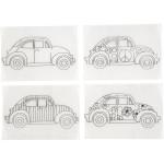 Krympeplast med motiver, 10,5x14,5 cm, biler, 4 ass. ark