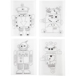 Krympeplast med motiver, 10,5x14,5 cm, robotter, 4 ass. ark