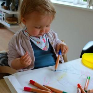 farveblyanter og tuscher i en kuffert til små børn giotto kreahobshop