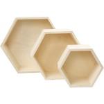 Opbevaringskasser, 14,8+19+24,2 cm, krydsfiner, sekskantet, 3 ass.
