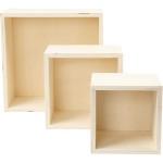 Opbevaringskasser, 11+14+20 cm, krydsfiner, kvadratisk, 3 ass.