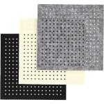 Filt med huller, ark 20x20 cm, grå, off-white, sort, 12 ass. ark