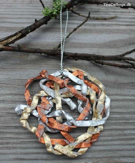 DIY julekugle i kobber guld og sølv
