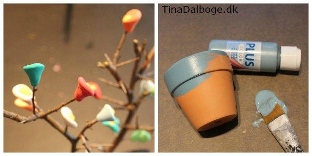 dekorere en gren med Silk Clay og form fine blomster af modellervoksen