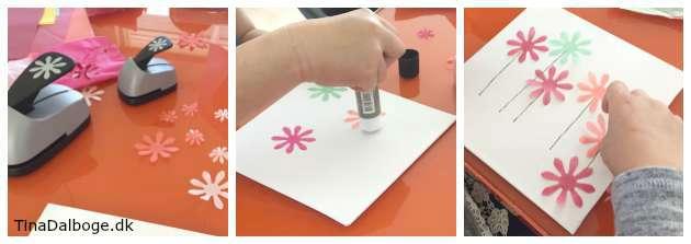 blomster udstanset med et paperpunch stansejern