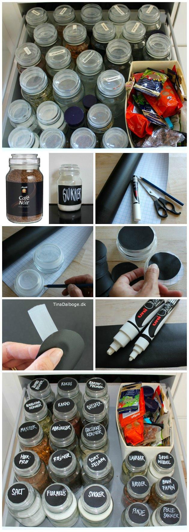 Inspiration til hvordan man sætter tavlefolie på opbevaringsglas