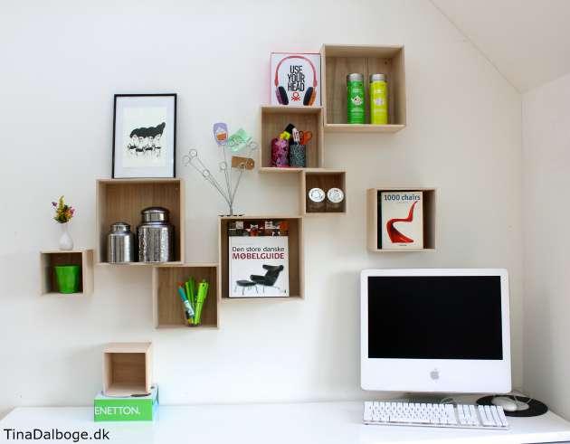 kasser i træ der kan hænges op på væggen